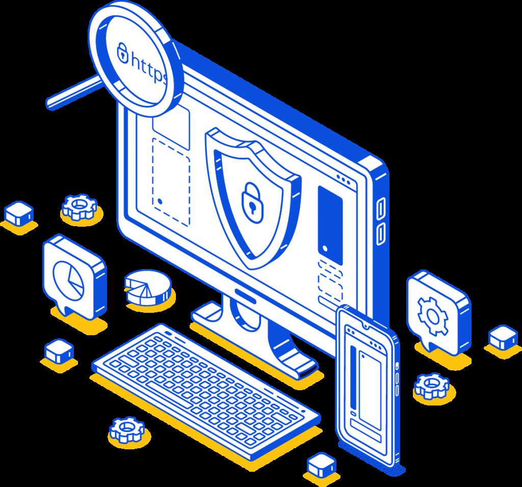 illustration certificat SSL cartoon